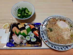豪華な夕飯(寿司となべ焼き)
